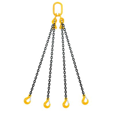 Chain sling 4-legs with latch hooks and grab hooks, grade 80