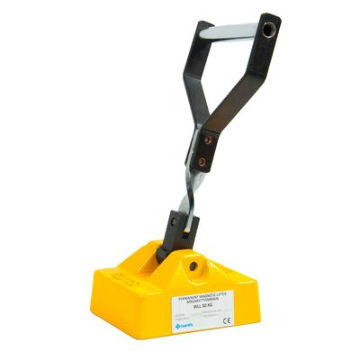 Magnetic lifting clamp, hand operated