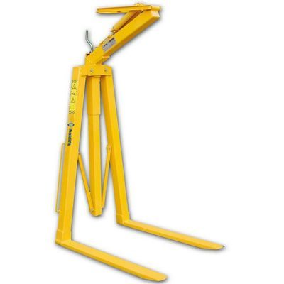 Foldable crane forks with automatic adjustment