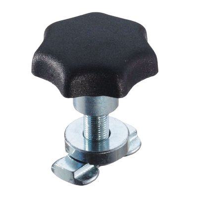 Screw fittings with plastic knob to aircraft tracks
